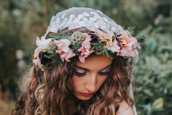 Ophelia, veil, flower crown